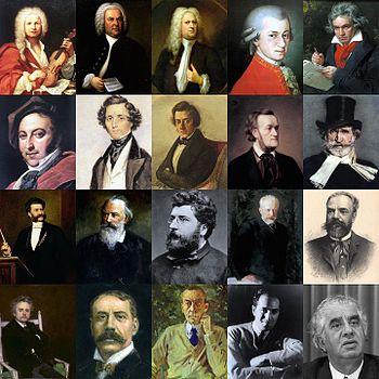 クラシック音楽の名だたる作曲家達の写真がまとめられた画像。