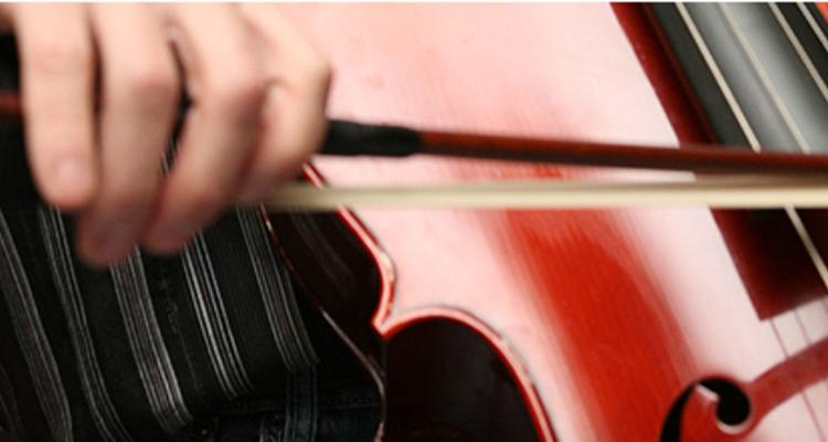 弦楽器を弓で演奏している画像