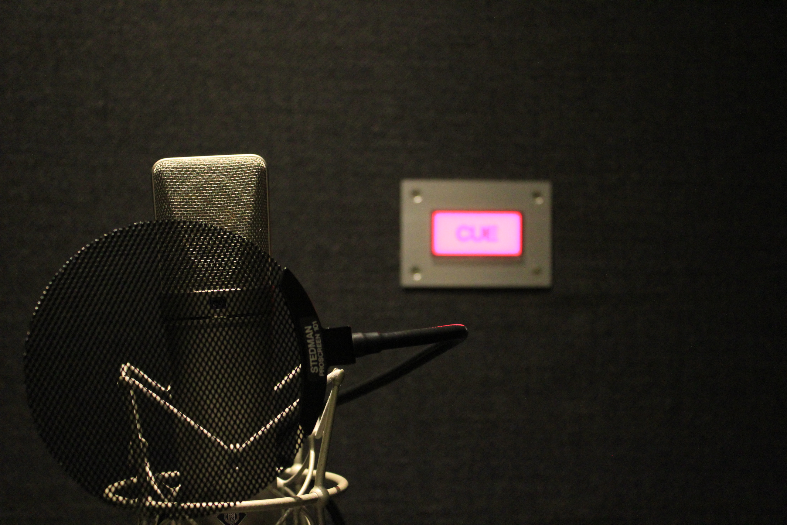 国立音楽院レコーディングスタジオ内のヴォーカルブースに立てられたノイマン87というマイク。奥にはCUEランプが光る。